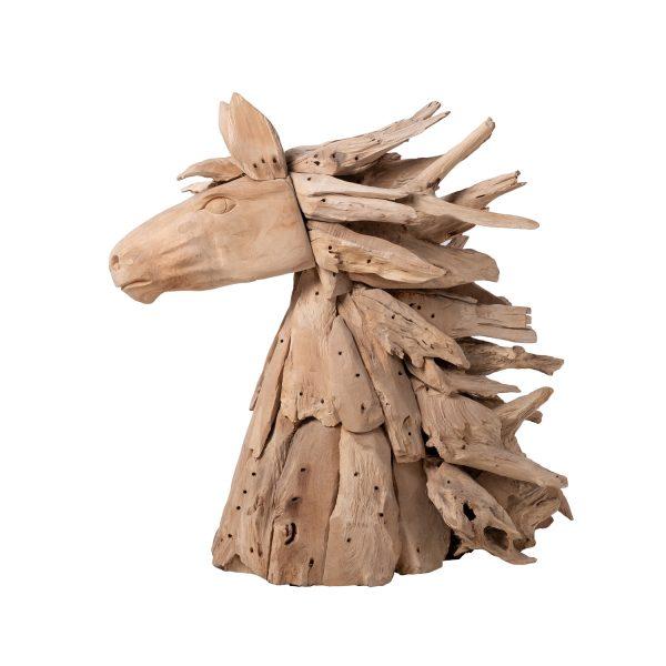 Διακοσμητικό ξυλόγλυπτο άλογο, άλογο χειροποίητο από τικ ξύλο, διακόσμηση, έργο τέχνης,