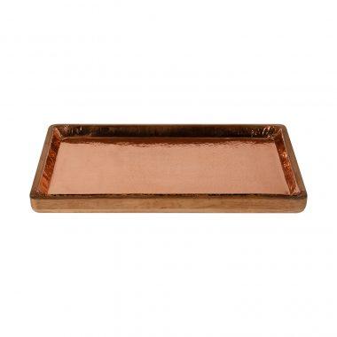 Δίσκος από ξύλο τικ, ξύλινος δίσκος, δίσκος με χαλκό, χειροποίητος δίσκος
